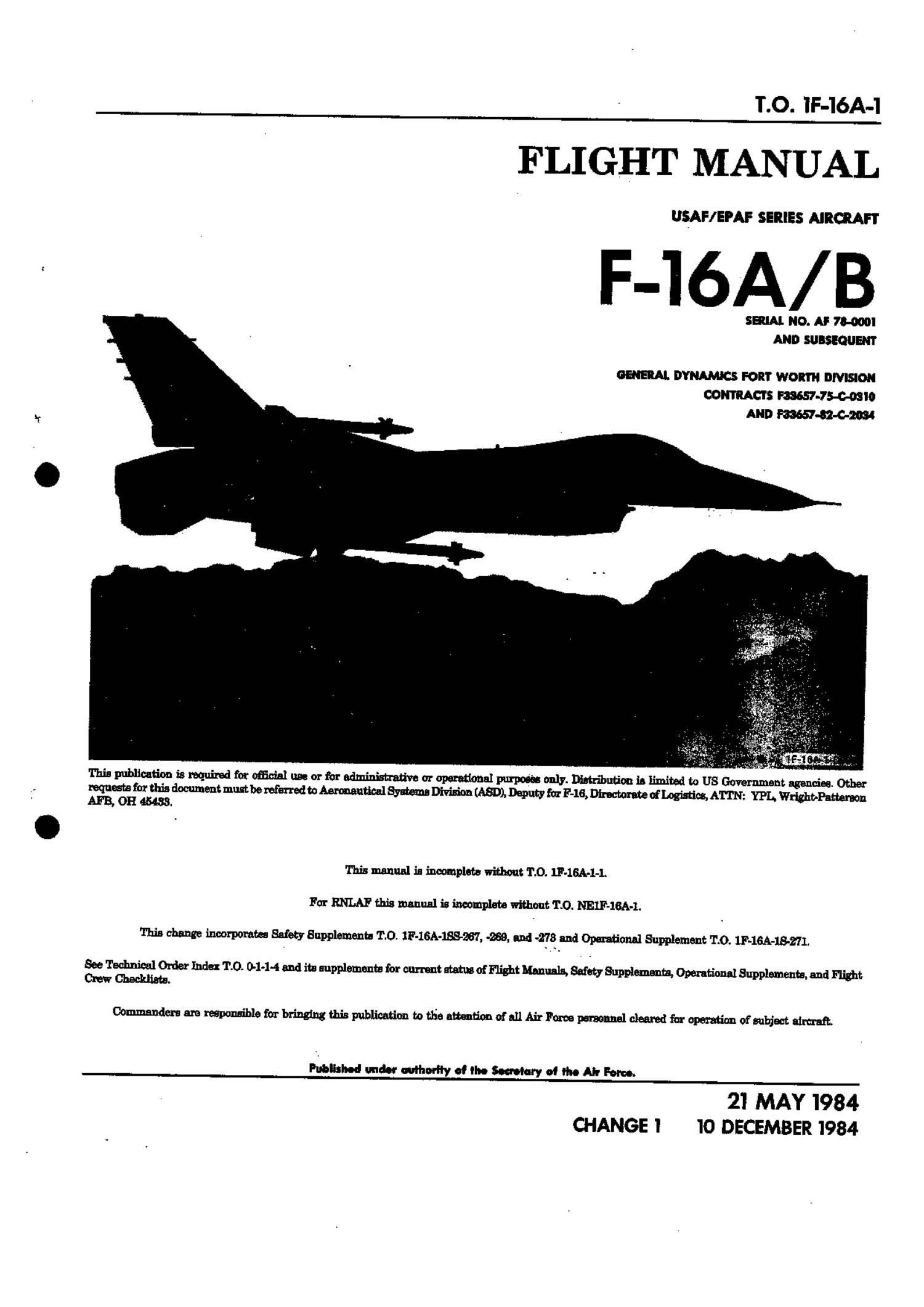 F-16AB Fighting Falcon Flight Manual (USAF).pdf | DocDroid